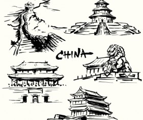 Famous cities buildings hand drawn vector 04