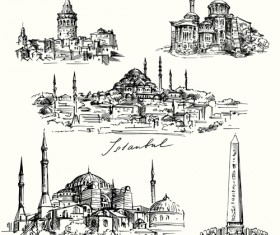 Famous cities buildings hand drawn vector 05