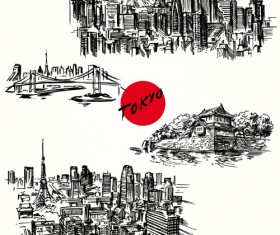 Famous cities buildings hand drawn vector 06