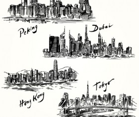 Famous cities buildings hand drawn vector 07
