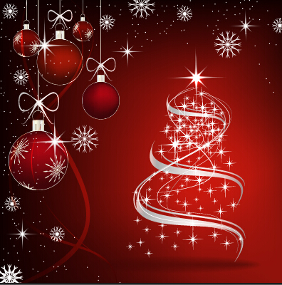 Fantasy christmas baubles vector background 02