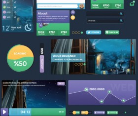 Flat business style web UI elements kit