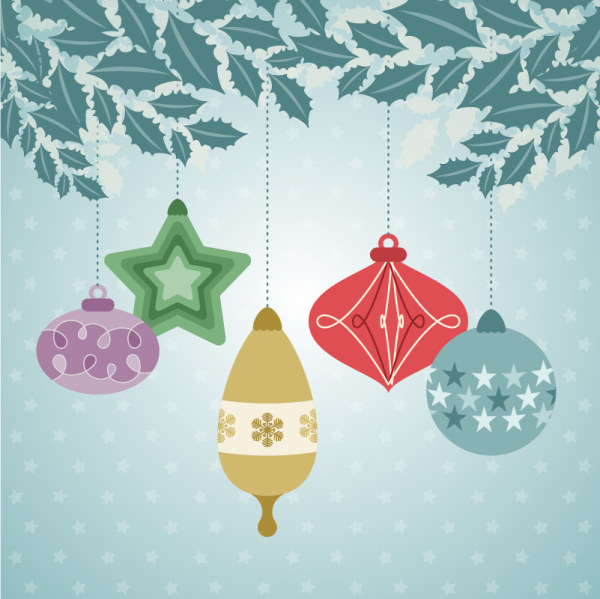 Flat christmas baubles art background vector 02