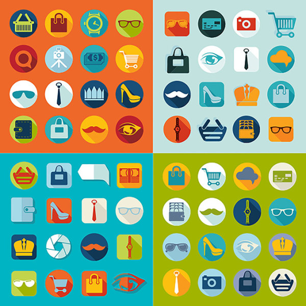 Flat supermarket shopping icons vectors