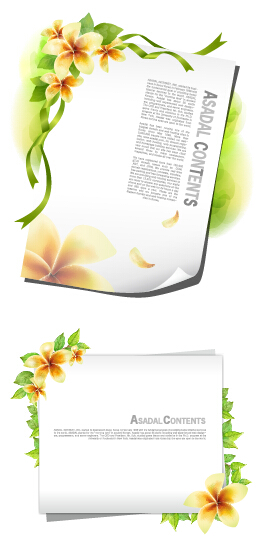 Flower with white paper vector card