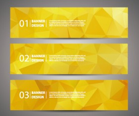 Geometric polygon with numbered banner vector 01
