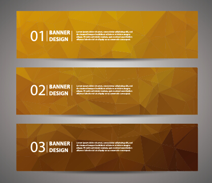 Geometric polygon with numbered banner vector 02