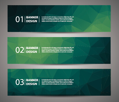 Geometric polygon with numbered banner vector 03