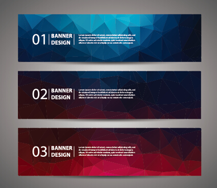 Geometric polygon with numbered banner vector 05