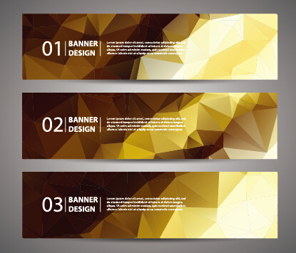 Geometric polygon with numbered banner vector 07