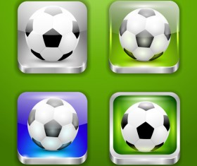 Glass textured square football icons vector