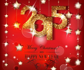 Golden 2015 and shiny red new year background