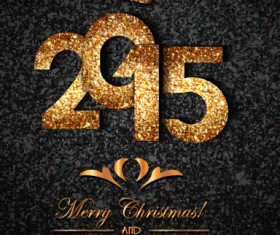 Golden crown 2015 new year and christmas background vector