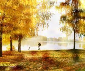 Golden yellow autumn nature landscape vector 01