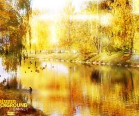 Golden yellow autumn nature landscape vector 02