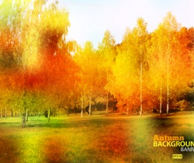 Golden yellow autumn nature landscape vector 03