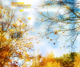 Golden yellow autumn nature landscape vector 04
