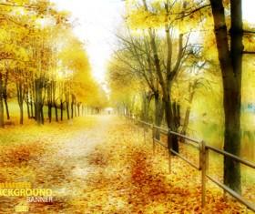 Golden yellow autumn nature landscape vector 05
