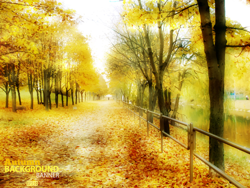 Golden yellow autumn nature landscape vector 05