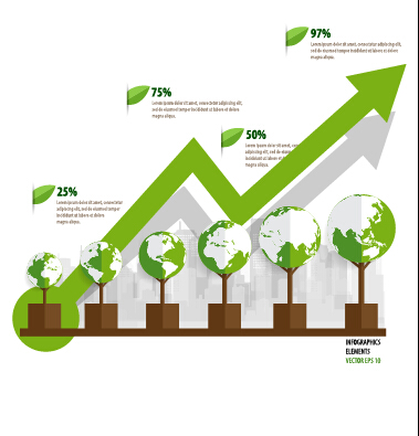 Green ecology earth infographics vector 01