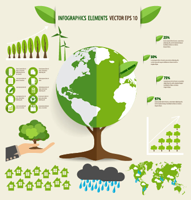 Green ecology earth infographics vector 02