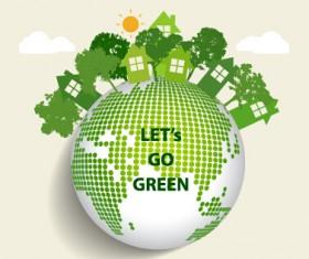 Green ecology earth poster design vector 01