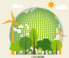 Green ecology earth poster design vector 03
