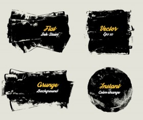 Grunge ink shapes background vector