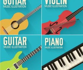 Guitar with piano and violin vector illustration
