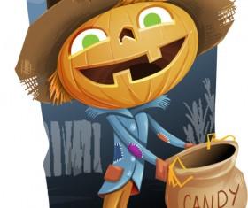 Halloween pumpkin scarecrow psd material