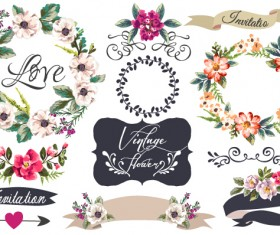 Hand drawn flower frame with ornament elements vector 01