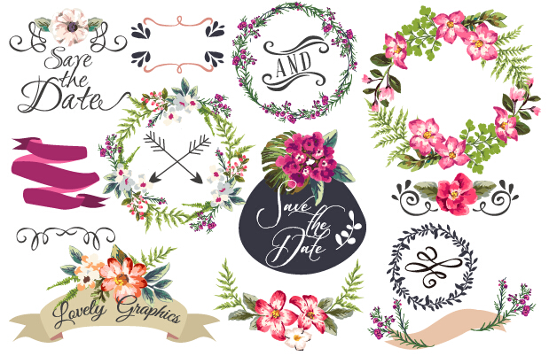 Hand drawn flower frame with ornament elements vector 02 ...