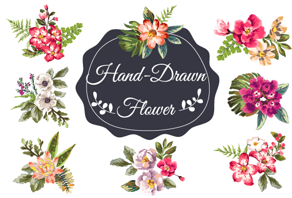 Hand drawn flower vintage vector - Vector Flower free download