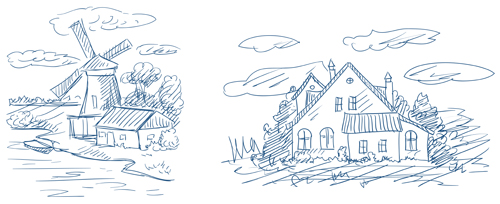 Hand drawn countryside landscapes vector 01