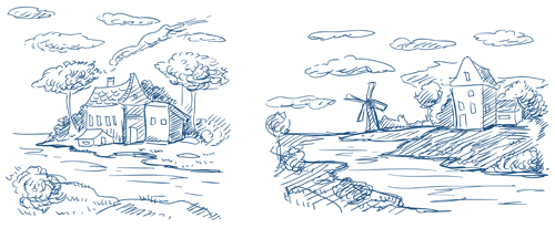 Hand drawn countryside landscapes vector 03