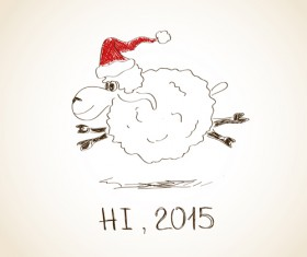 Hand drawn sheep year 2015 background