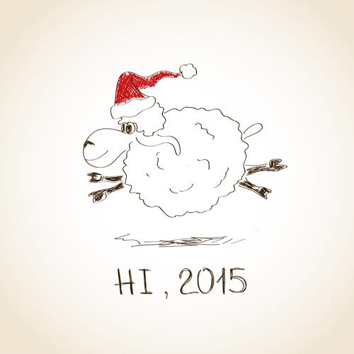 Hand drawn sheep year 2015 background