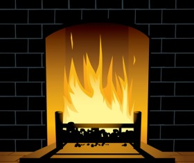 Home fireplace vector background material 05