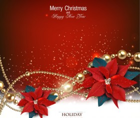 Jewelry and flowers red xmas backgrounds vector 01
