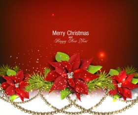Jewelry and flowers red xmas backgrounds vector 02