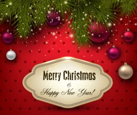 New year with xmas ornament vector background