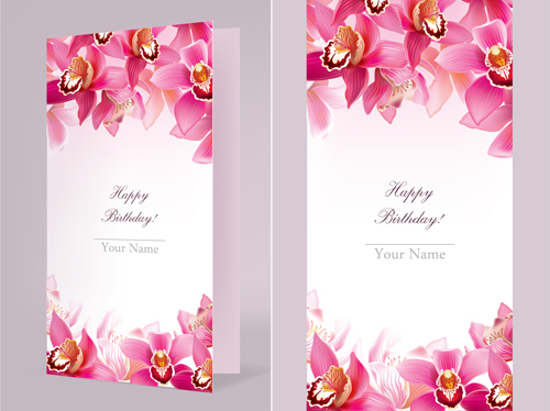 Orchids Happy Birthday Card Vector Free Download