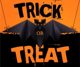 Origami black bat vector halloween background