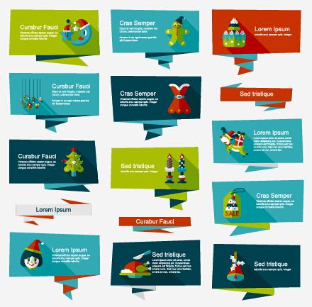 Origami christmas banner creative vector set 07