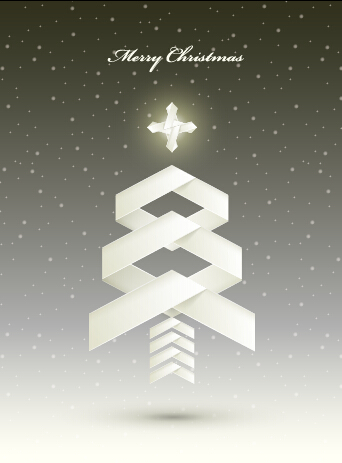 Origami christmas tree vector background