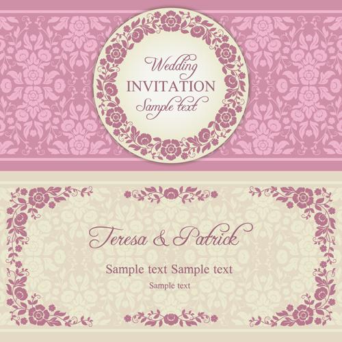Ornate pink floral wedding invitations vector 01 vector card ornate pink floral wedding invitations vector 01 stopboris Choice Image