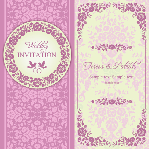 Ornate pink floral wedding invitations vector 02 free download ornate pink floral wedding invitations vector 02 stopboris Images