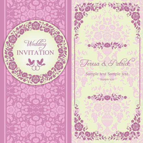 Ornate pink floral wedding invitations vector 02