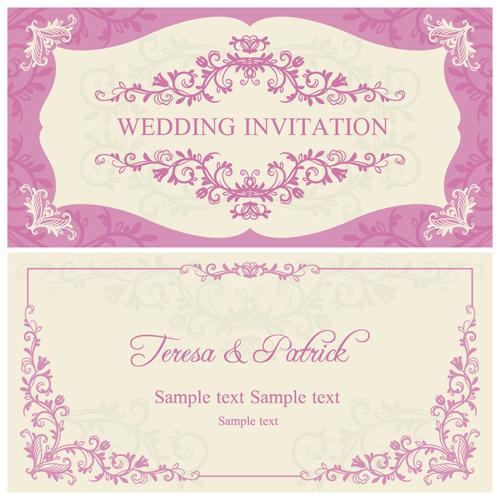 Ornate pink floral wedding invitations vector 04