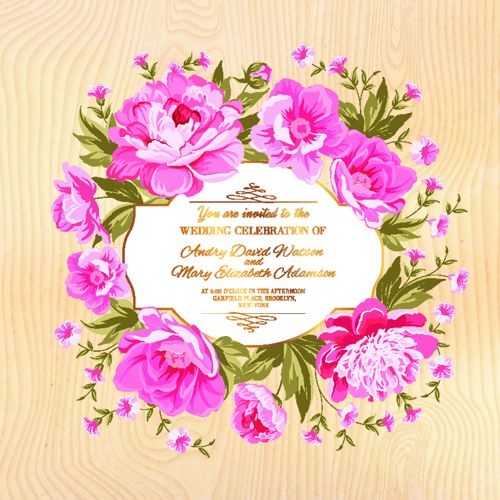 Pink flower frame wedding invitation cards 01 vector card pink flower frame wedding invitation cards 01 stopboris Image collections
